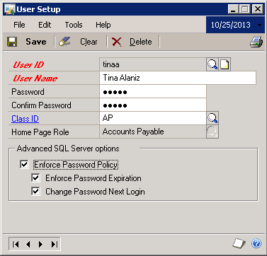 Microsoft Dynamics GP User Setup